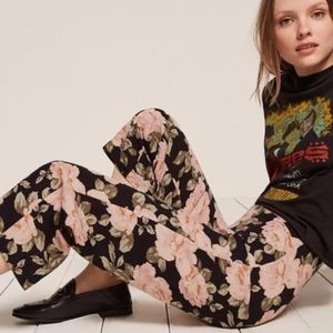 Reformation Roma Belini Pant Floral Wide Leg Peony